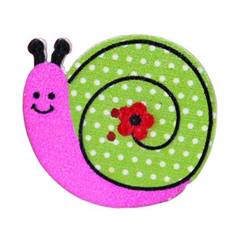 Botones - TOOGOO(R)50 piezas botones de coser de madera de dibujos animados de animales(caracol)