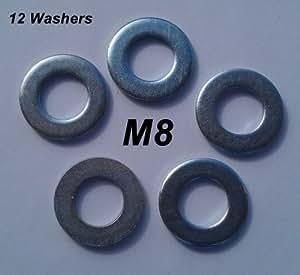 Rondelles en métal, plates, zinguées, M8 (lot de 12)