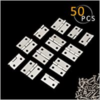 PAMASE 50 Stücke Mini Edelstahl Scharnier 25*25mm mit 200 Stücke Schrauben für Möbel Schrank Schublade Holzlade