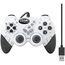 QUMXO Blanco Doble Vibración de choque con cable USB Joystick del controlador del juego Gamepad para PC
