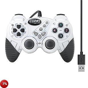 QUMOX Vibrazione a doppio shock bianco con cavo USB Gamepad Gaming Controller Joystick per PC