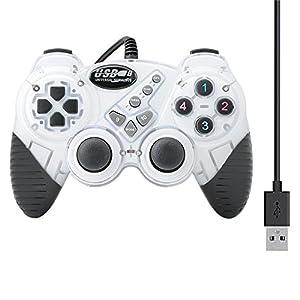 QUMOX Dual Vibration Gamepad Shock Joypad Controller für PC Kabel USB Joystick Weiß