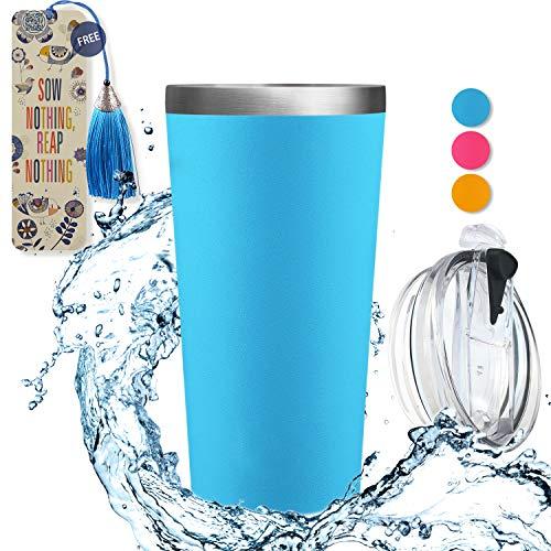 echer - doppelwandig Edelstahl Reise-Kaffeebecher mit Deckel, Thermobecher, BPA-frei, FDA, kein Schwitzwasserflasche, Vakuumisolierte Flasche, 17 oz 17 oz (503 ml) pacific ()