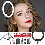 Neewer – Kit Anillo Luminoso (, Espesor 1,8 cm) 48 cm, 3200 – 5600 K, LED Ring Light con pie Luminoso, Porte-Smartphone, Tablet, Montura Zapata para Retrato Maquillaje de vídeo (Negro)