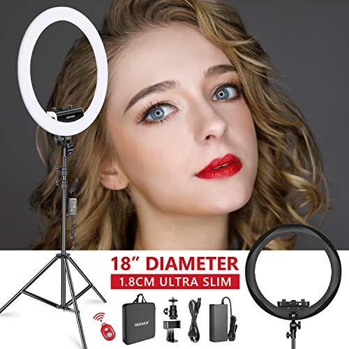 Neewer Kit Anneau Lumineux (Epaisseur 1,8cm) 48cm, 3200-5600K, LED Ring Light avec Pied Lumineux, Porte-Smartphone, Tablet, Monture Sabot pour Portrait Maquillage Vidéo (Noir)