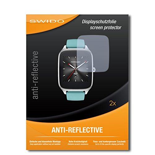 SWIDO Schutzfolie für Asus Zenwatch 2 WI501Q [2 Stück] Anti-Reflex MATT Entspiegelnd, Hoher Härtegrad, Schutz vor Kratzer/Bildschirmschutz, Bildschirmschutzfolie, Panzerglas-Folie