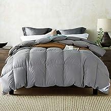 Umi. by Amazon - Decke mit Gänsefedern und -daunen und reinem, daunendichtem Baumwollgewebe (10,5 tog, Doppel, grau)