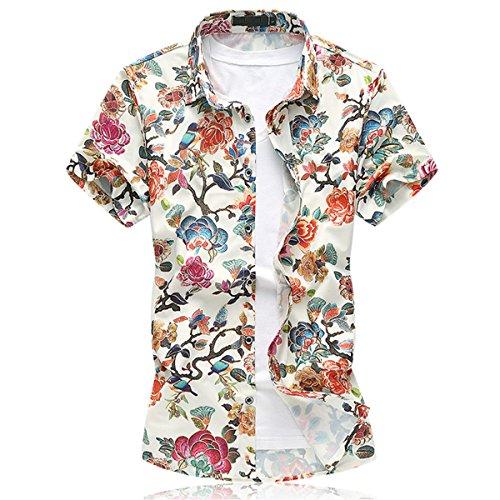 Mirecoo Herren lässig Hemd Hawaii-Print mit Blumen kurzarm T-Shirt Urlaub (Blumen-hawaii-shirt)