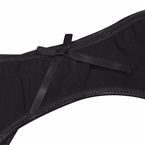 YiZYiF Damen Strumpfgürtel Strapsgürtel Strapsstrümpfe strapsen set mit G-string Tanga Dessous Lingerie Netzstrümpfe Über Größe M-3XL A - Schwarz 3XL - 5