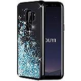 KOUYI Galaxy S9 Plus Hülle Glitzer, Luxus Fließen Flüssig Glitzer Mode 3D Bling Cute Dynamisch Schwarz Silikon Weich Flexible TPU Bumper Smartphone Cover für Samsung Galaxy S9 Plus (Silberblau)