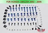 VITCIK Verkleidung Kompletter Schraubensatz für Honda CBR125R 2002 2003 2004 2005 2006 CBR 125 R 02 03 04 05 06 Motorrad Befestigungsmittel CNC-Aluminiumklammern (Blau & Silber)