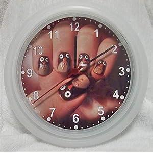 ✿ Uhr in 4 Farben ✿ EULEN 18 ✿ Wanduhr ✿ Nagelstudio Fingernägel ✿ KEIN TICKEN ✿ mit/ohne Name