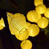 Solar Outdoor Lichterkette 20 LEDs Lampions Laterne Wasserdichte Gartenbeleuchtung mit 5m Zuleitungskabel Weihnachten Deko für Balkon,Weihnachten, Hochzeit, Party