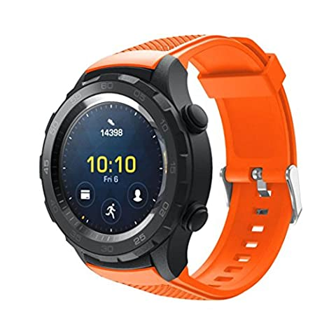 Gaddrt Remplacement concis Vogue dragonne bracelet silicagel Soft Band pour Huawei Watch 2 (orange)