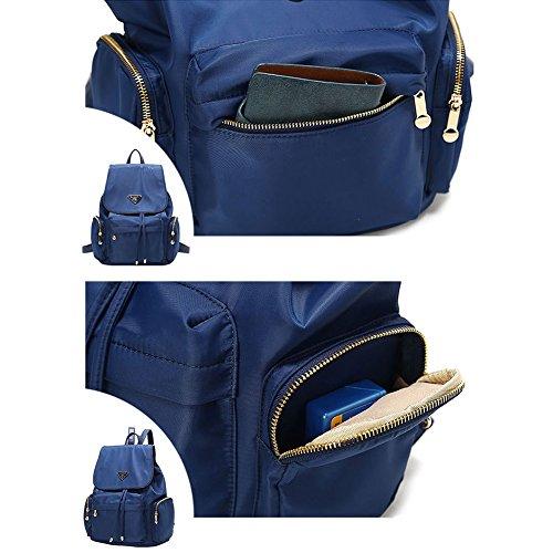 Artone Da Donna Resistente All'Acqua Nylon Classic Daypack Coulisse Zaino With Didietro Antifurto Pocket Nero Profondo blu