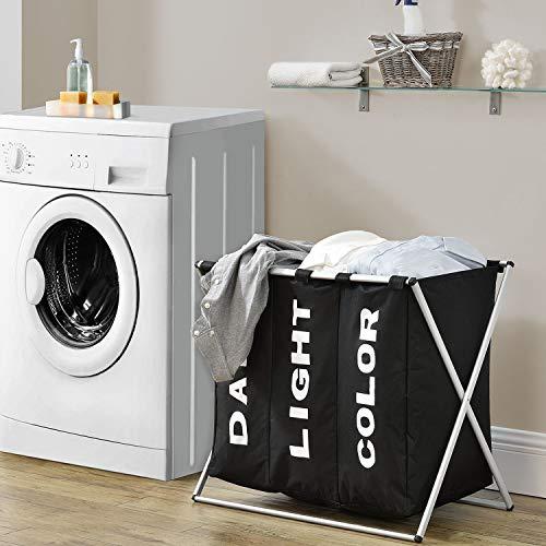 Juskys Wäschesammler W3S faltbar mit 3 Fächer Stoff Wäschesack abnehmbar 115 Liter Wäschesortierer stabil Wäschekorb schwarz Schmutzwäsche