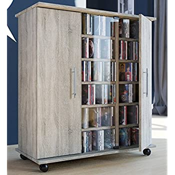 durable large multimedia storage cabinet easily holds 900 cds or 390 dvds or 216 videos provides 30 variable insertion shelves sonoma oak