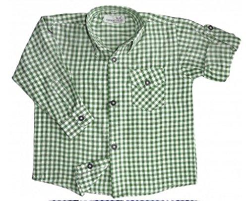 Kinder Trachtenhemd für Lederhosen Langarm Oktoberfest Trachten grün-weiss kariert 116/122