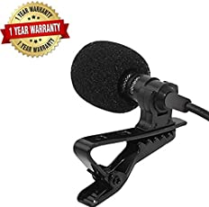 Trovon E_57000455 3.5MM Clip On Mini Lapel Lavalier Microphone for Android/iOS Device (Black). (1 Year Warranty)