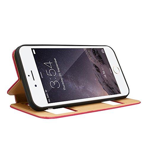 Labato PRAKEISCHSTIL iPhone 6 PLUS/6S PLUS Handytasche, Hülle mit Fenster, echte Leder, braun, Lbt-I6L-07L21 pink
