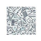 DIYthinker Blau handgemaltes Math Lineal Rechner Illustration Anti-Rutsch-Boden Haustier-Matten-Platz Badezimmer Wohnzimmer Küche Tür 60/50cm Geschenk 50X50Cm Mehrfarbig