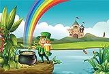 YongFoto 2,2x1,5m Photographie Toile de Fond Happy St. Patrick's Jour Lucky Irish Shamrock Farfadets Pot Doré Rainbow River Château Nuage Blanc Dessin animé Photo Fond Enfant bébé Adultes Portraits
