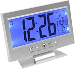 Kidsgenie Digital LCD Clock with Calendar, Temperature Sensor, Alarm for Table and Study Desk