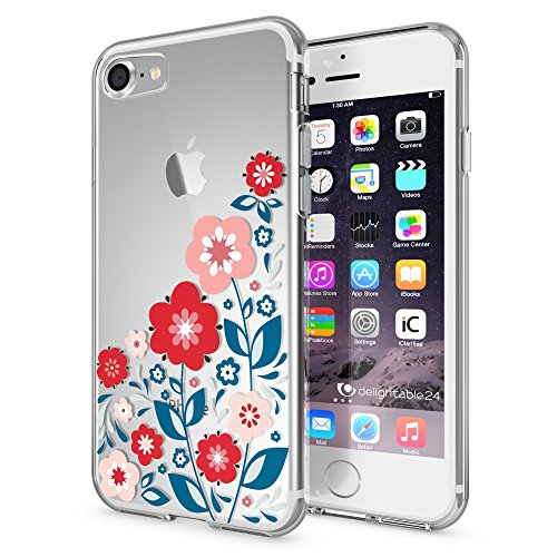 iPhone 8 / 7 Coque Protection de NICA, Housse Motif Silicone Portable Case Cover Transparente, Ultra-Fine Souple Gel Slim Bumper Etui pour Telephone Apple iPhone-7 / 8, Designs:Bird Princess Spring Flowers