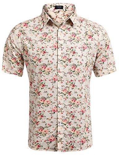 Coofandy camicia hawaiana da uomo manica corta estampa floreale casual estiva beige l