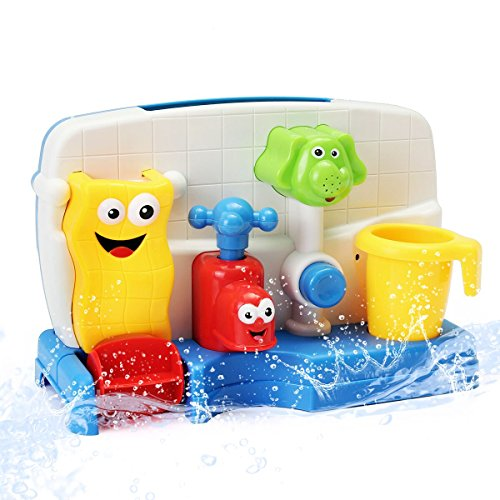 FUNTOK Badespielzeug Wasserspiel Wasserspielzeug Badewannenspielzeug Wasserspaß Spielzeug Dusche Spielzeug Early Education Interaktive (Creative Cartoon Portable Wasser Sprinkler System mit Sucker)