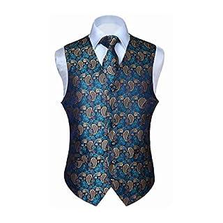 Hisdern Men's Paisley Floral Jacquard Waistcoat&Necktie and Pocket Square Vest Suit Set, Aqua & Brown, M(Chest 44inch)