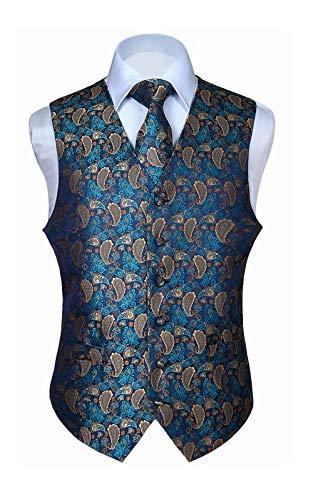 Hisdern Hisdern Manner Paisley Floral Jacquard Weste & Krawatte und Einstecktuch Weste Anzug Set