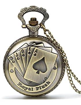 JewelryWe Vintage Taschenuhr Herren Analog Quarz Uhr mit Halskette Kette Kettenuhr Pocket Watch Vatertag Geschenk...