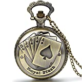 Jewelrywe Orologio da Tasca a Quarzo Poker Quadrante Numero con Collana in Lega Bronzo Vintage immagine
