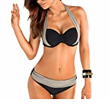 Uskincare Bikini et Maillot de Bain Deux Piece Taille Bas/Haute de superieure Qualite Agrandissant pour Femme, Gris et Noir, M