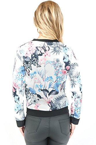 Freshlions Damen Blouson Bomberjacke mit Flower Prints in verschiedenen Farben Blau/Weiß