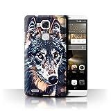 eSwish Hülle/Case für Huawei Ascend Mate7 / Karikaturmalerei Muster/Wildes Tier Raubtier Wolf Kollektion