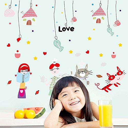 Preisvergleich Produktbild HCCY Cat cat montage mural et les os contre la chambre des enfants chambre de bébé les murs sont de petites affiches autocollant animal 115*93cm
