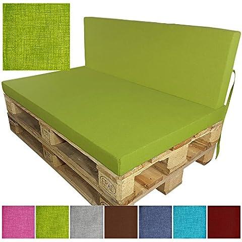 proheim Outdoor Paletten-Kissen Paletten-Sofa Indoor / Outdoor schmutz- und wasserabweisende Paletten-Auflage Paletten-Polster für Euro-Paletten, Variante:Sitzkissen, Farbe:Apfelgrün