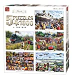 King 5-in-1 Klassische Kollektion an Puzzles - Inklusive 5 x 1000 Puzzleteile & Poster