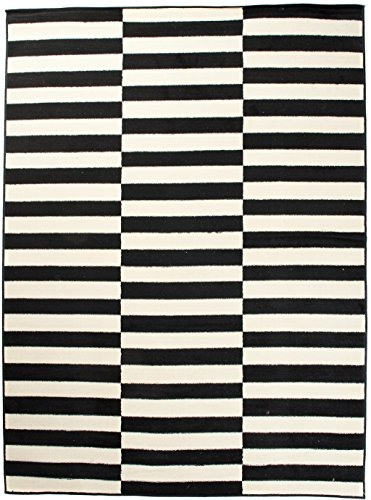 Art Deco Teppiche (Moderner Designer Teppich - Für Ihre Zuhause - Weiß Anthrazit - 200 x 300 cm - Geometrisches Streifen Muster -