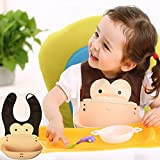 Inchant Cartoon Animal Style Soft & Comfortable Baby Toddlers Waterproof Silicone Bibs with Roll up Pocket,velcro straps to adjust size,Easy to Clean,Keep stains off Kids babies Food Catcher Pocket Feeding Bib - Loverly Monkey design