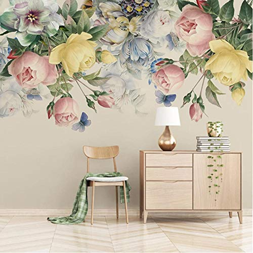 Rose Floral Wallpaper (Hyiiw Custom Size 3D Mural Wallpaper European Style Floral Living Room Tv Backdrop Photo Wall Paper Hand Painted Rose Flower Art Mural-280X200Cm)