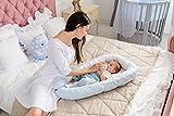 ComfortBaby multifunktionales Babynest (80 x 52 cm) Baby-Reisebett für Neugeborene. (Blau-Weiss)
