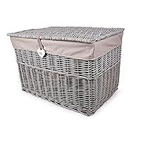 Grey Painted Wicker Trunk Storage Chest Hamper Basket Box Removable Lining (Medium)