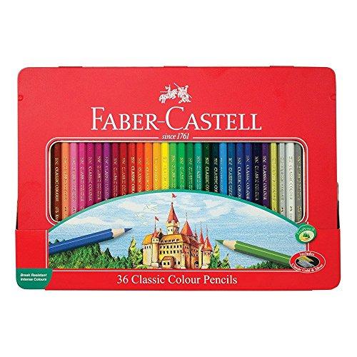 Faber-Castell 115886 Buntstifte im Metalletui, hexagonal, 36 Stück, Classic Farbe