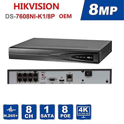 8-Kanal-NVR-Netzwerkvideorecorder, Unterstützung von 1-Kanal-HDMI, 1-Kanal-VGA, HMDI mit Einer Auflösung von bis zu 4K (3840 x 2160) Plug & Play, bis zu 6 TB (Festplatte separat erhältlich) Hmdi-video
