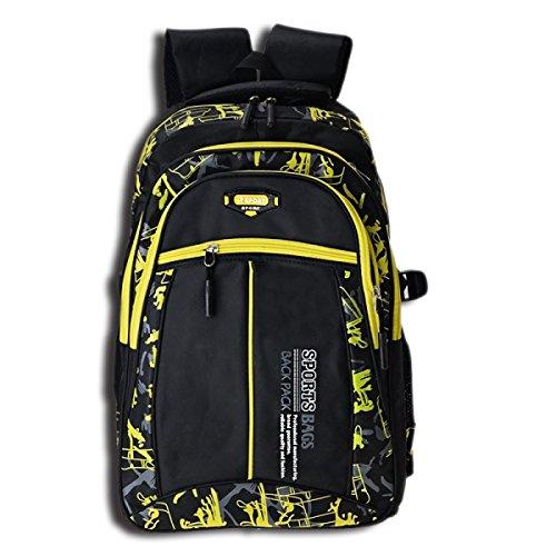 LQABW Spalla Delle Coppie Di Modo Di Sport All'aperto Alpinismo Borsa Da Viaggio Di Grande Capienza Impermeabile Zaino Trekking 30L,Blue Yellow