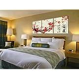 Stampa su tela Wall Art Modern Home Decor Arte Orientale, pittura cinese di prugna fiori, allungato e incorniciato, pronto da appendere 16x16inch 3PC # 01-90038
