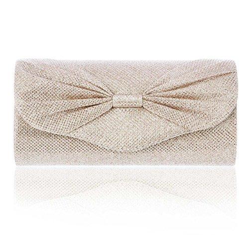 Damara® Schleifenverzierung Magnet Damen Glänzend Handtaschen Champagner